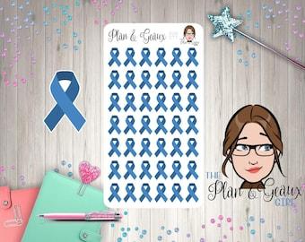Blue Awareness Ribbon Stickers, Cancer Awareness Ribbon, Blue Ribbon, Bullet Journal, Happy Planner, FUN-277