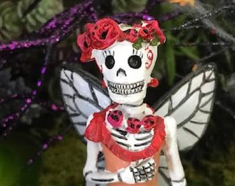 Miniature Day of the Dead Poppy Skeleton Fairy Catrina