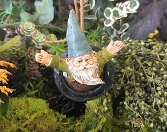 Miniature Gnome in a Tire Swing