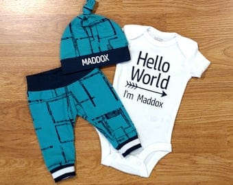 Personalized Hello World, baby boy, coming home outfit, personalized hat, custom hat, baby shower gift, turquoise, navy, geometric