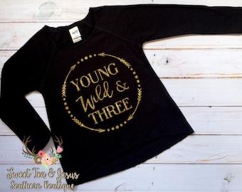 Young Wild and Three Shirt - Girls Birthday Shirt - Third Birthday Shirt - Toddler Girl Third Birthday Shirt- Wild and Three Birthday Shirt