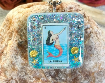 La sirena loteria mermaid resin pendant