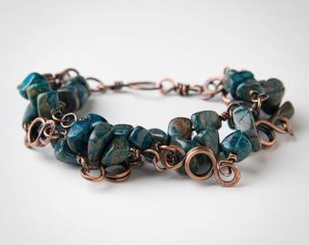 Boho Copper Bracelet - Blue Sky Jasper Bracelet - Multi Strand Bracelet