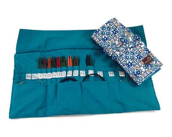 Della Q Interchangeable Needle Case 185-1 NEW Decatur Teal Blue Cotton Print Columbia Cotton Print or Red, Ocean or Seafoam Silk Needle Roll
