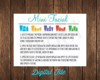 Rodan & Fields Mini Facial Instruction Card ~ Digital Download