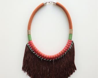 Ethnic Necklace, Fringe Necklace, fringe Jewelry, Festival Necklace, Bohemian Jewelry