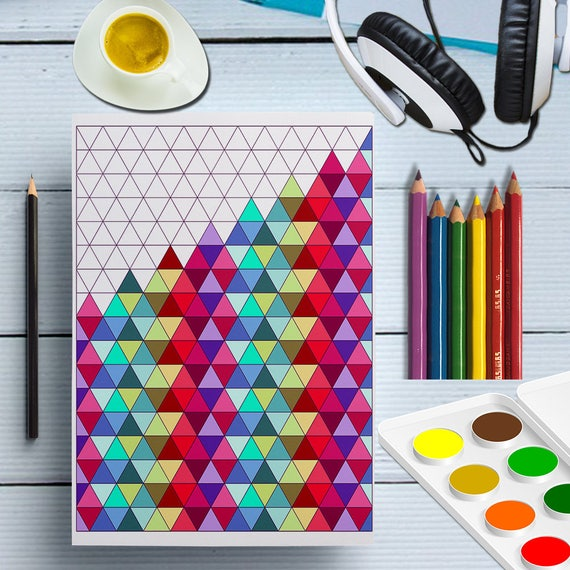 Printable Triangles Coloring Page, Triangles Shape Prints, Geometric Coloring Sheet Digital, Adult Color Patterns, Doodle Coloring For Adult