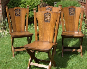 Four Arts & Crafts Solid Oak Dining or Hall Chairs (Various Pick Up Points)
