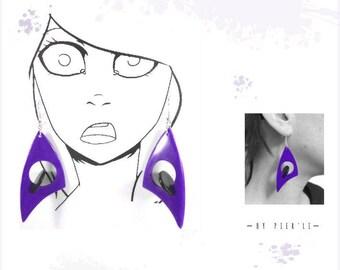 Boucles d'oreilles violet et noire