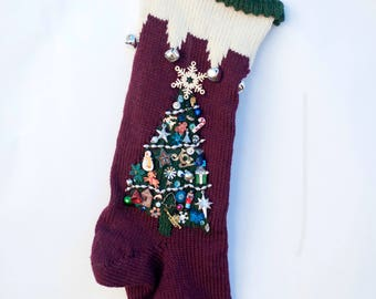 Knit Christmas Stocking Personalized Maroon Cream