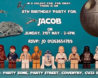 Star Wars Lego - Personalised Children's Party Invitations -  Pack of 10