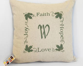 Faith Hope Love Joy Stenciled Pillow Cover in Linen and Cotton Blend, Farmhouse Style Stenciled Monogram Pillow Cover,