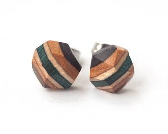 Wooden Earrings, Wood Earrings, Recycled Skateboard Earrings, Recycled Skateboard Jewelry, Eco Friendly