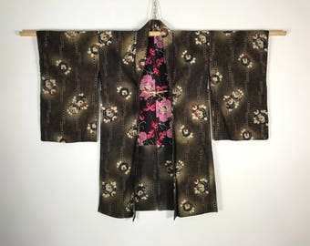 D849 Vintage 60s Japanese Haori Kimono Womens Old Cotton Cardigan Jacket