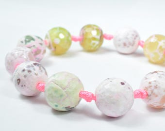 16mm Pink Pastel Lace Agate Beads, 2mm hole opening, Lace Agate Beads,Add  your own clasp and this item is ready to wear!