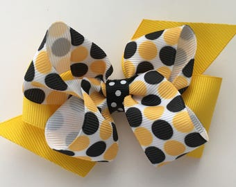 Appstate Bow Appstate Hair Bow Yellow and Black Hair Bow Small Yellow and Black Bow ASU Bow Steelers Bow Appalachian Bow