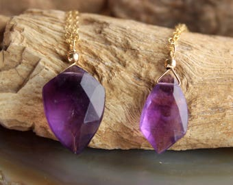 Amethyst Necklace, Amethyst Choker, February Birthstone, Arrow Shaped Amethyst Necklace, Gemstone Necklace, Pendant Necklace