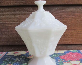White Milk Glass Candy Dish | Stash Box Dish | Footed Dish | Vintage Home Decor | Housewarming