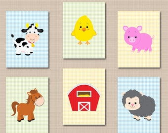 Farm Animals Nursery Wall Art,Farm Animals Nursery Decor,Barnyard Nursery Wall Art,Farm Baby Shower,Cow Horse Sheep Chicken-UNFRAMED  6 C158