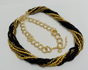 Black and gold necklace, grain necklace, birthday gift