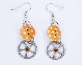 Earrings with orange-wood knob on silver-colored earrings earrings jewelry pendant Earrings steampunk gear points rhinestones