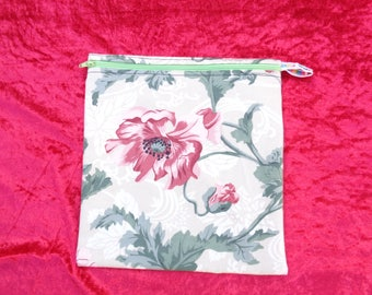 Red Poppy Poppies 2 -  Large Poppins Waterproof Lined Zip Pouch - Sandwich bag - Eco - Snack - Bikini Bag - Lunch Bag - Make Up - Beauty Bag