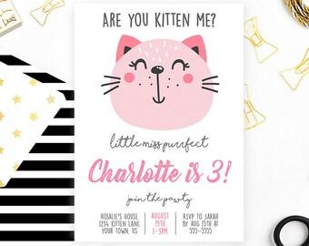 Kitten Birthday Invitation, Kitten Birthday, Cat Invitation, Cat Birthday, Kitty Invitation, Birthday Invitation, Purrfect Pawty, Printable