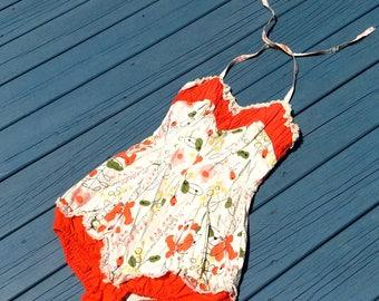 1950's Vintage Jantzen Cotton Print Bathing Suit