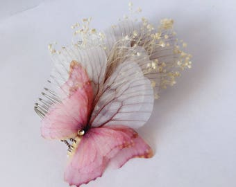 Nice for bridal wedding hair comb / maid of honor in golden metal decorated with pink fabric Butterfly