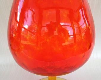 Vintage Amberina Glass Brandy Snifter Large Fishbowl Orange Yellow Vase Bowl Mid Century Centerpiece Home Decor Dining Table