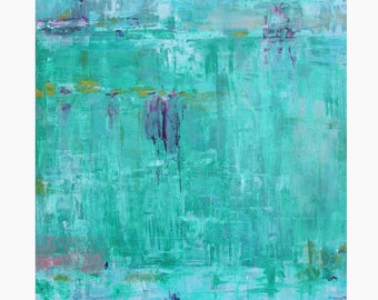 Original Abstract Oil Painting Watery blues turquoise contemporary Dallas artist Paul Ashby 12 x 12 square art