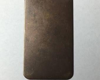 Vintaj antique brass rectangle with hole, 23 x 40mm, 1 piece