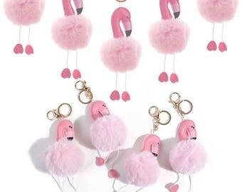 Pink Fluffy Flamingo Keychain,Flamingo Accessory for Bag,Flamingo Jewelry