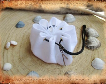 Purse, wallet, purse, felt, white, runes, ethnic, Pagan, Bohemian, Viking.