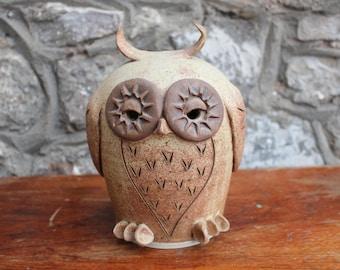 Unusual Large Art Pottery Owl Money Bank Studio Pottery Money Box Piggy Bank