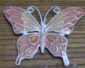 Pink and Peach colored Butterfly Brooch