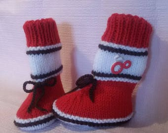 Boots red and white baby booties made hand size 0/6 months