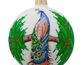 "4"" Peacock on a Branch Glass Ball Christmas Ornament"