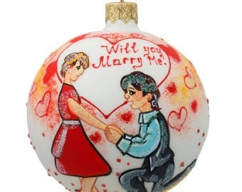 """3.25"""" Will You Marry Me Engagement Glass Ball Christmas Ornament"""