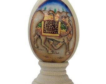 "3"" Oriental Royal Mughal Camel Marble Stone Easter Egg"