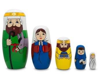 "5.75"" Joseph, Mary, and Jesus Nativity Scene Wooden Nesting Dolls"
