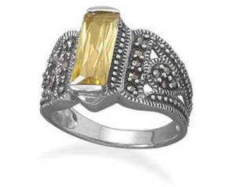 Yellow CZ and Marcasite Sterling Silver Ring (Size 7)