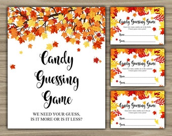 Fall Baby Shower - Candy Guessing Game - Sign - Cards - PRINTABLE - INSTANT DOWNLOAD - Autumn - Bottle - Container - Jar - 0108