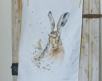 Hazel hare tea towel