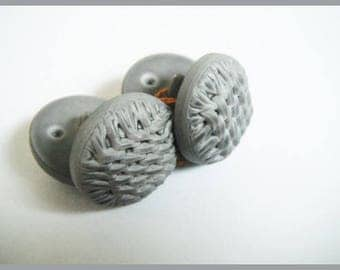 set of 4 vintage grey embossed buttons which I no longer use