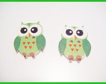 2 buttons wooden OWL - Green ♥ ♥
