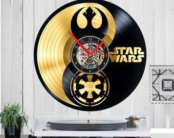 Star Wars Gold Vinyl clock Star Wars uhr handmade clock Wall art Wall clock Empire rebellion Star Wars clock  Birthday Disney