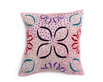 Indian Pure Cotton Cushion Cover Home Cut Work Decorative Pink Color Size 17x17""