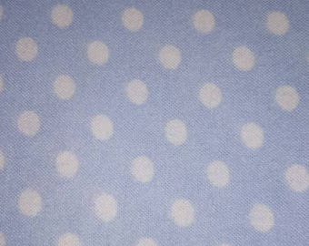 Blue and white Polk a dot fabric