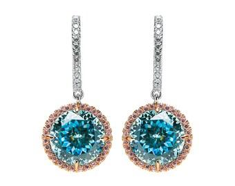 Sparkling Blue Topaz Round Earrings